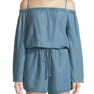 Velvet Heart Romper Off The Shoulder Pockets Blue